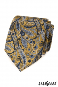 Niebiesko-żółty krawat we wzór paisley