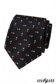 Czarny teksturowany krawat ze wzorem