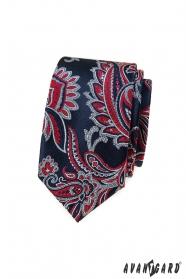Niebieski slim krawat z czerwonym wzorem paisley