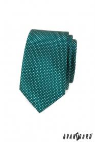 Zielony, wąski krawat w kropki