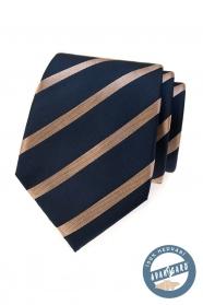 Niebieski jedwabny krawat z błyszczącym paskiem w pudełku
