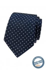 Niebieski jedwabny krawat z białym wzorem w pudełku