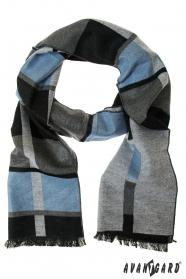 Elegancki szary szalik z jasnoniebieskim paskiem