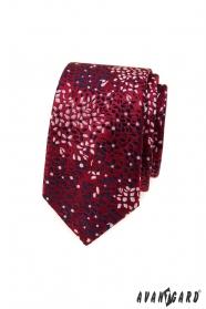 Bordowy wąski krawat w kwiatowy wzór