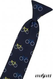 Niebieski krawat dziecięcy 31 cm, kolorowy rower